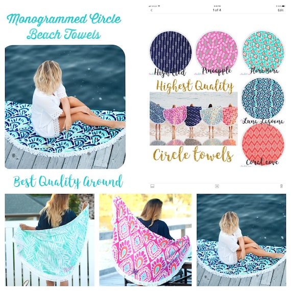 Round Beach Towels , monogrammed,  personalized Sand Circle towel  , Round Summer Towel , Circle Beach Towel, Bridesmaid gifts