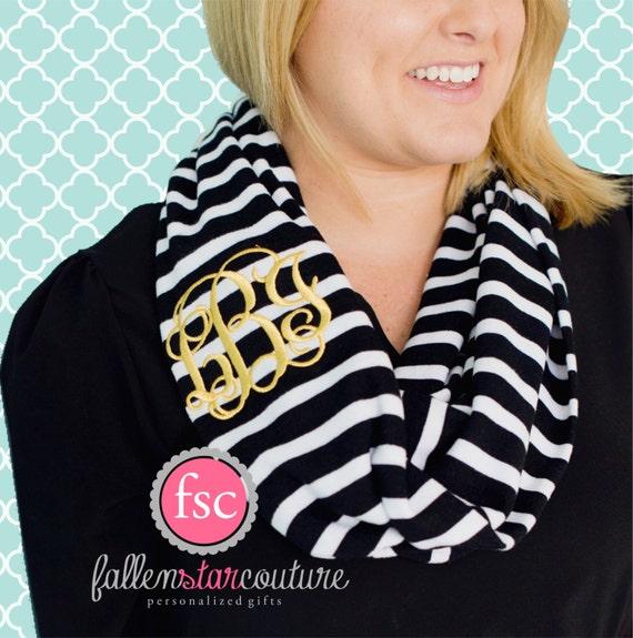 Monogrammed infinity scarf , black stripe scarf , personalized scarf , infinity scarf , monogram scarf