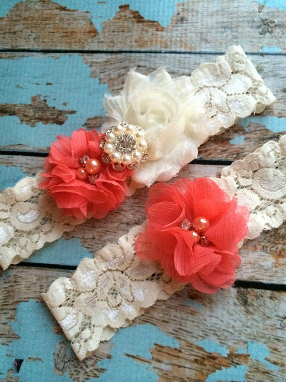 Coral Wedding Garter Set Bridal Garter Ivory Lace Garter Something Blue Rhinestone Garter Vintage Garter Belt Toss Garter Lace Garter