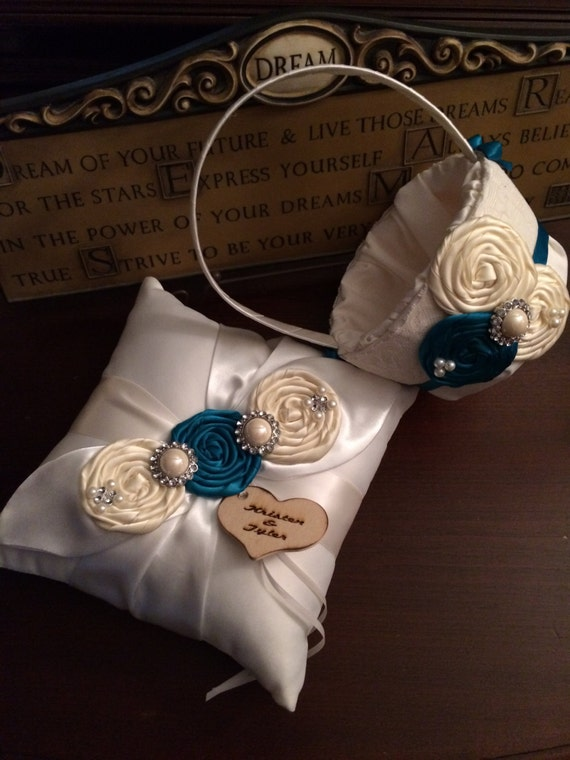 Flower girl basket and Ring Bearer Pillow Set , You Pick Your Own Colors