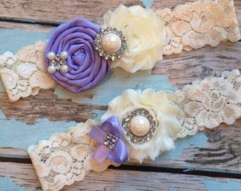wedding garter / iris  / bridal  garter/  lace garter / toss garter /  garter / vintage inspired lace garter/ U PICK Color