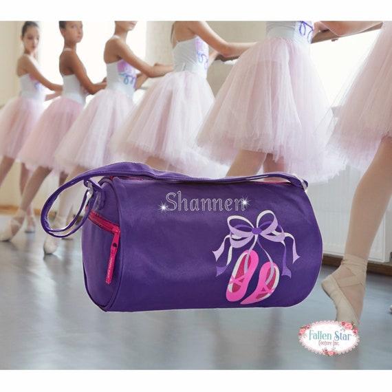 Small BALLET dance bag, ballerina bag, ballerina shoe bag, girls dance bag, ballet class bag, ballet slippers bag, bling dance bag, purple