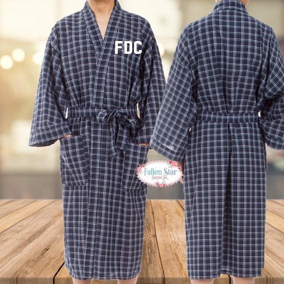 Mens Robe, Mens Plaid Robe, Long Mens Robe, Personalized Robe For Men, Red Plaid Robe, Man Robe, Long Length Robe , Monogrammed Mens Robes