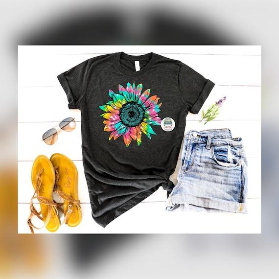 Tie dye sunflower tshirt - sunflower shirt - flower tshirt - ladies shirt - womens clothes - tie dye - bright colors - graphic tee
