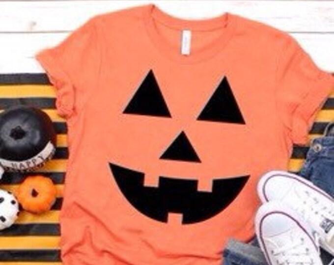 Jack O Lantern Tee, Ladies Pumpkin Shirt, Pumpkin Face Shirt, Girls Pumpkin Face Shirt, Woman's Halloween Tee