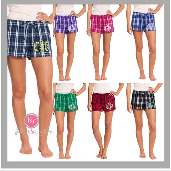 CLEARANCE Personalized ladies pajama shorts, monogrammed shorts pjs, bridesmaid shorts , monogrammed flannel pjs, getting ready shorts