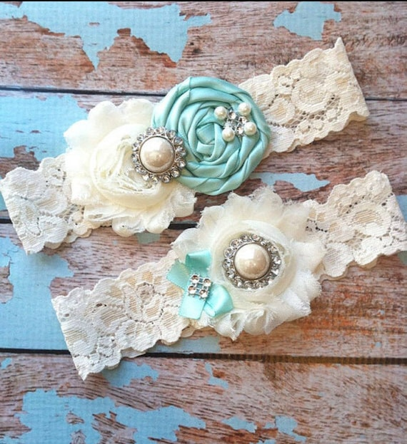 Aqua Garter, Something Blue Wedding Garter , Bridal Garter Set, Lace Garter , Wedding Garter Set, Vintage Garter , Toss Garter, Ivory Garter