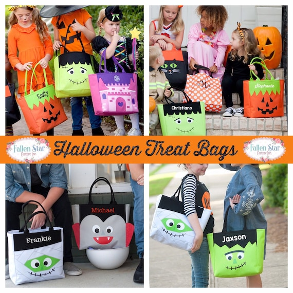 Halloween tote , trick or treat bag , personalized hallowen bag , halloween bucket , kids trick or treat Bag