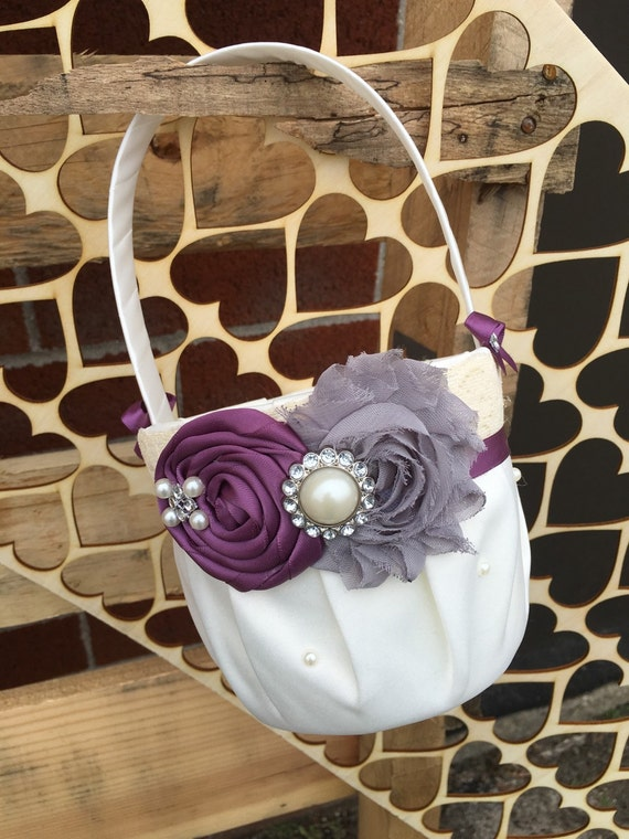 Flower Girl Basket , Plum Grey wedding , Plum Flower Girl Basket , Flower Girl Gift , You Pick Your Colors
