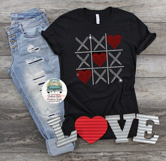 Valentines Day Shirt, Ladies Valentines Day Tee, Bling Valentines Day Shirt, Rhinestone Bling Tic Tac Toe Shirt , Woman's Valentines Day