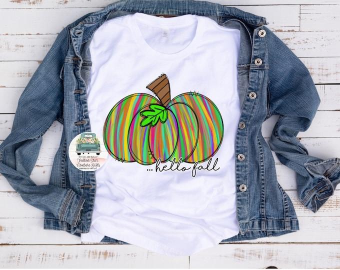 Pumpkin T- Shirt, Fall Tee, Ladies Fall Shirt , Woman's Fall T-Shirt, Pumpkin Shirt, Mom Pumpkin Shirt