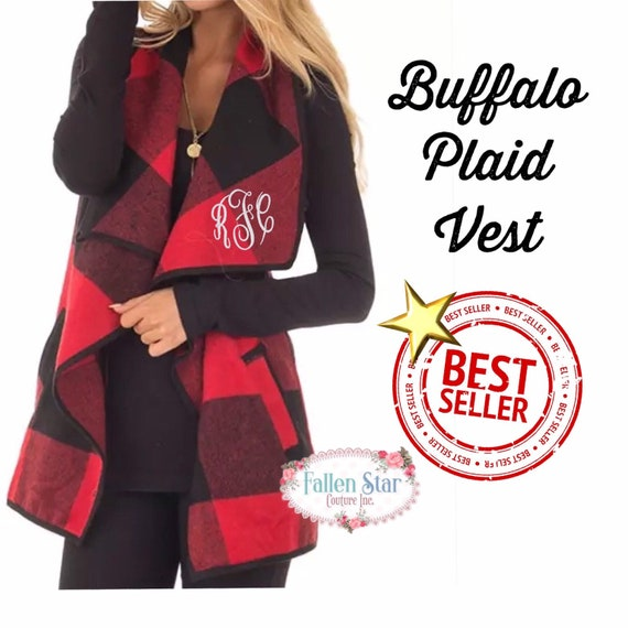 Buffalo Plaid Women's Vest Ladies Plaid Monogrammed Vest Gifts For Her plaid personalized ladies vest