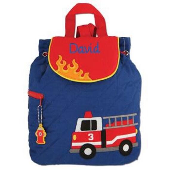 Clearance , Firetruck Backpack , toddler back back , toy bag , preschool backpack , stephen joseph backpack , personalized kids bag, Quilted
