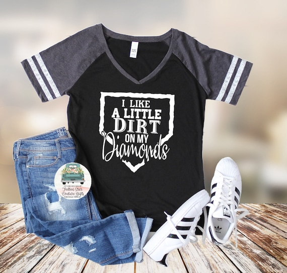 Dirt on My Diamonds ,  Baseball Mom Shirts, Baseball Tee, Mom Shirt, Baseball Mom V Neck, Cooperstown, Little League , Travel Baseball