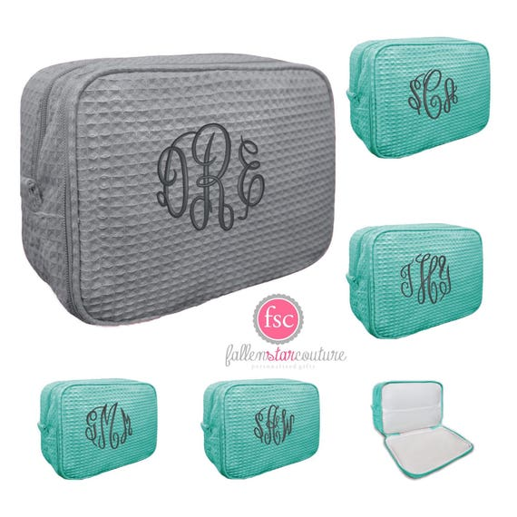 4 bridesmaid makeup bags , waffle makeup accesory bags, monogrammed bag, wedding bag , bridesmaid gifts , personalized bridesmaid gifts