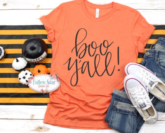 Boo Y'all , Ladies Halloween T- Shirt , Halloween Shirt , Ladies Halloween Shirt , Womans Halloween Tee , Girls Halloween Tee