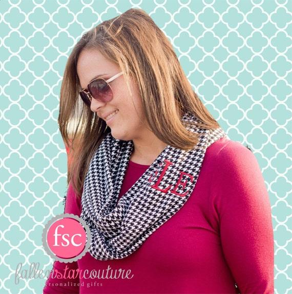 Houndstooth Monogrammed infinity scarf , black  scarf , personalized scarf , infinity scarf , monogram scarf