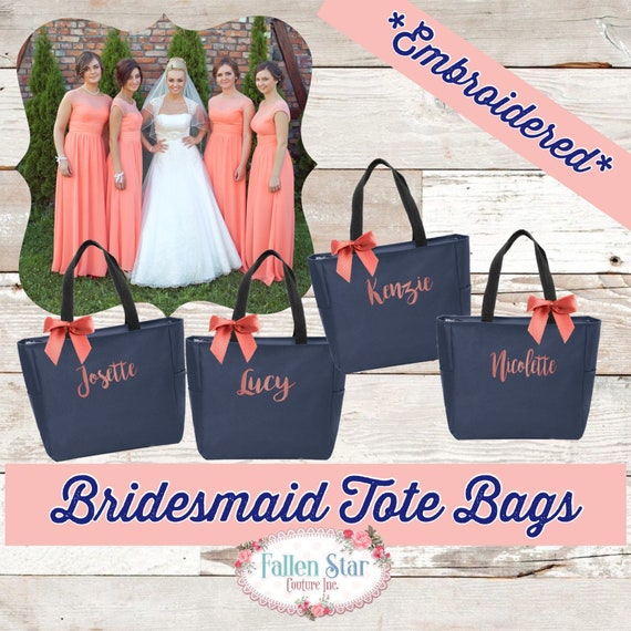 19 bridesmaid tote bags , bridesmaid gifts , tote bag , beach bag , bachelorette party gift ,wedding bag