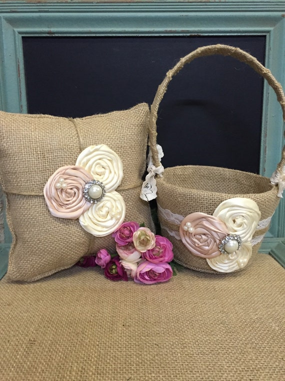 Burlap flower girl basket / ring bearer pillow - burlap pillow , burlap basket- burlap , ivory and blush