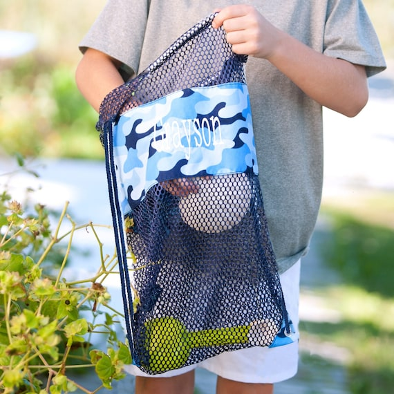 Kids beach bag , Personalized Boys Mesh tote bag , kids beach bag, beach tote, Shell bag, monogrammed beach bag, shell tote beach bag