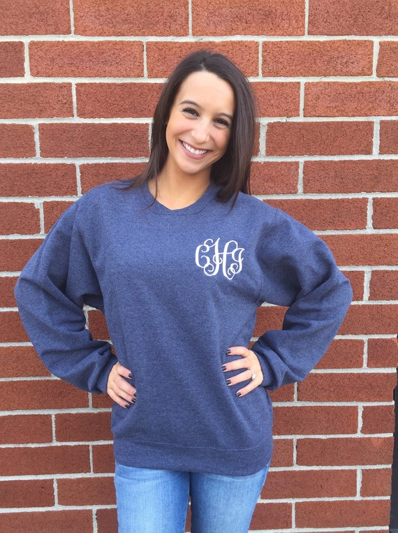 Ladies monogrammed sweatshirt , personalized sweatshirt , monogram sweatshirt , perfect ladies CHRISTMAS GIFT -fast shipping