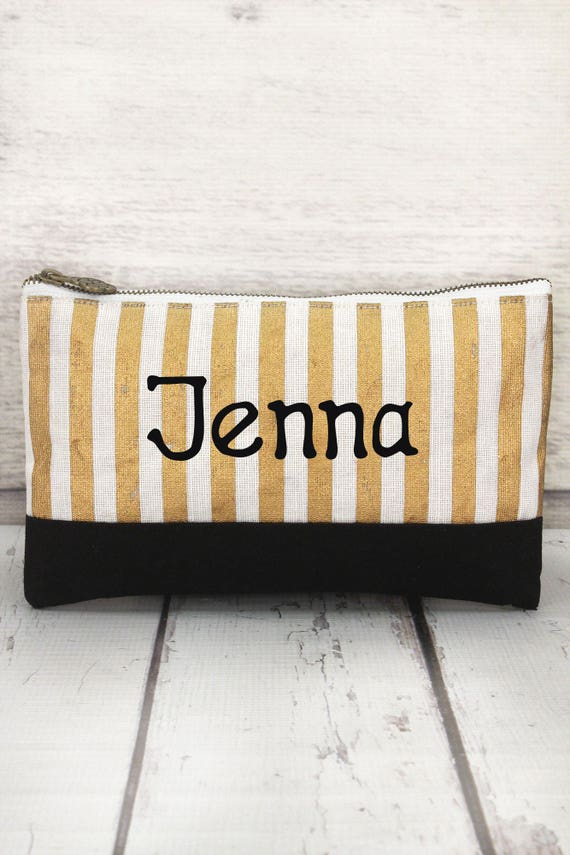 Gold, White, and Black Juco Cosmetic Bag , personalized makeup bag, monogrammed cosmetic bag, bridesmaid bag
