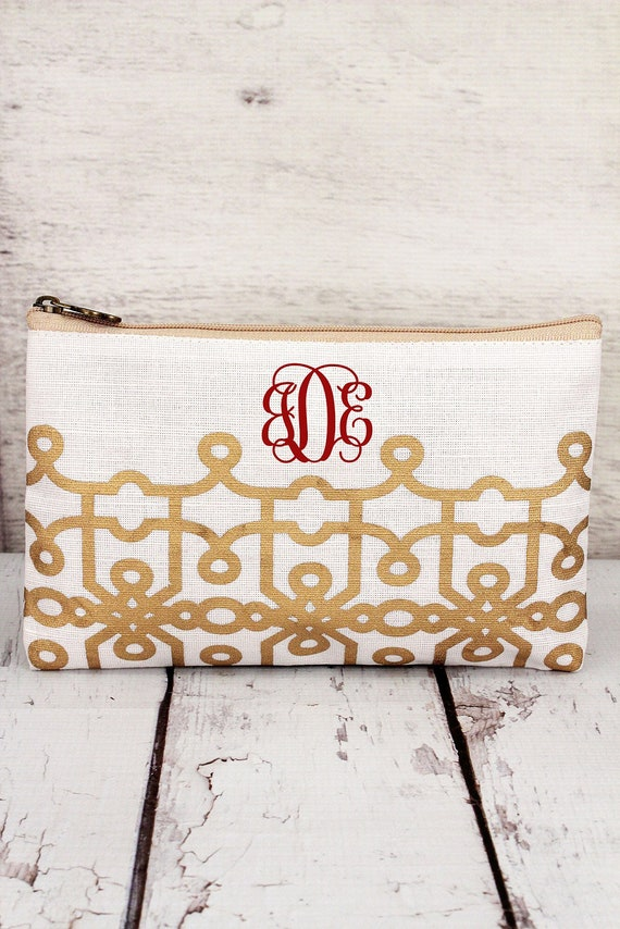 GOLD and WHITE jute cosmetic bag, personalized makeup bag, monogrammed cosmetic bag, bridesmaid bag,