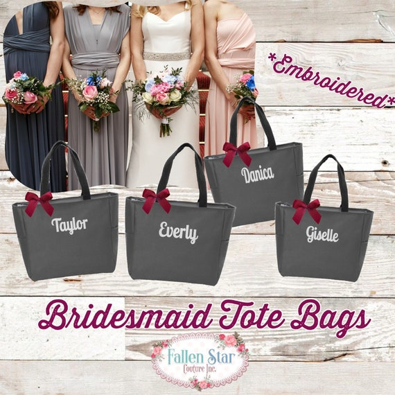 9 Monogrammed Tote Bags, Bridal Party Gifts, Bridesmaid Tote Bags , Gifts for Bridesmaids , Embroidered Tote Bags, Bachelorette Party Gifts