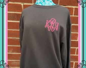 Ladies Monogrammed sweatshirt , personalized sweatshirt , CHARCOAL crew neck sweatshirt , embroidered ladies sweatshirt, womans sweatshirt,