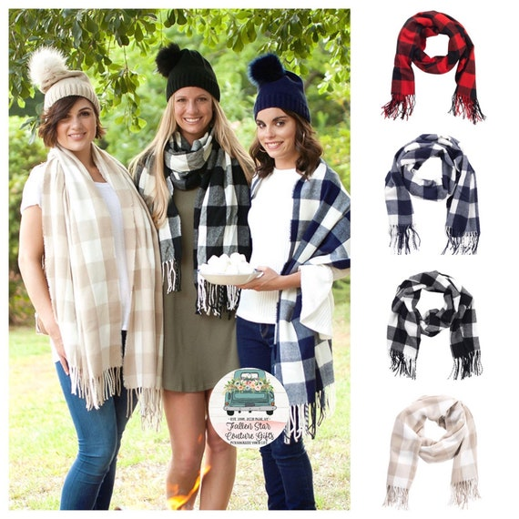 Monogrammed Scarf, Personalized Scarf, Ladies Scarf, Plaid Scarf, Buffalo Plaid Scarf , Red Buffalo Plaid, Black White Buffalo Plaid