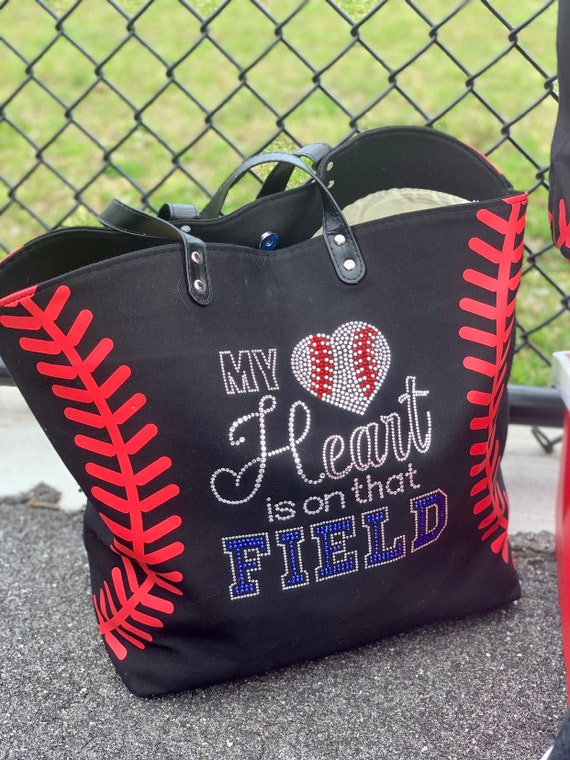 Personalized Baseball tote bag , baseball moms tote bag, sports tote, sports mom bag, monogrammed baseball tote, womans baseball tote BLING