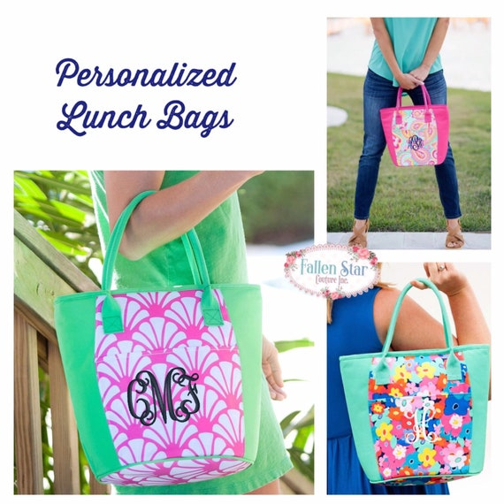 TEACHER GIFT , Monogrammed lunch bag, personalized lunch bag , beach cooler  , vacation beach cooler bag , insulated lunch tote