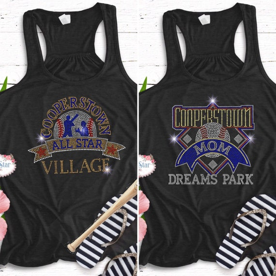 Cooperstown shirts, Cooperstown mom shirts, all star village, dreams park, 12 U baseball, bling baseball mom shirts