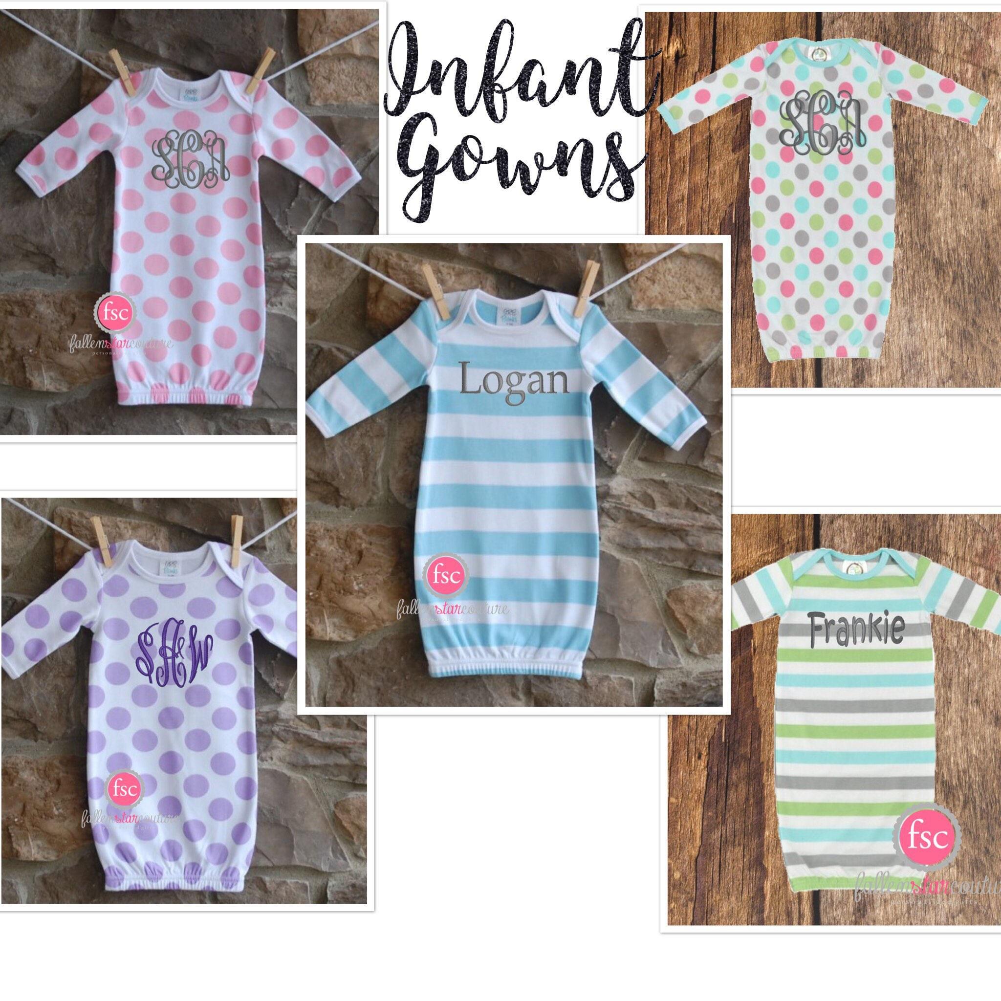 Newborn layette , newborn gown , baby gown , monogrammed baby gift ...