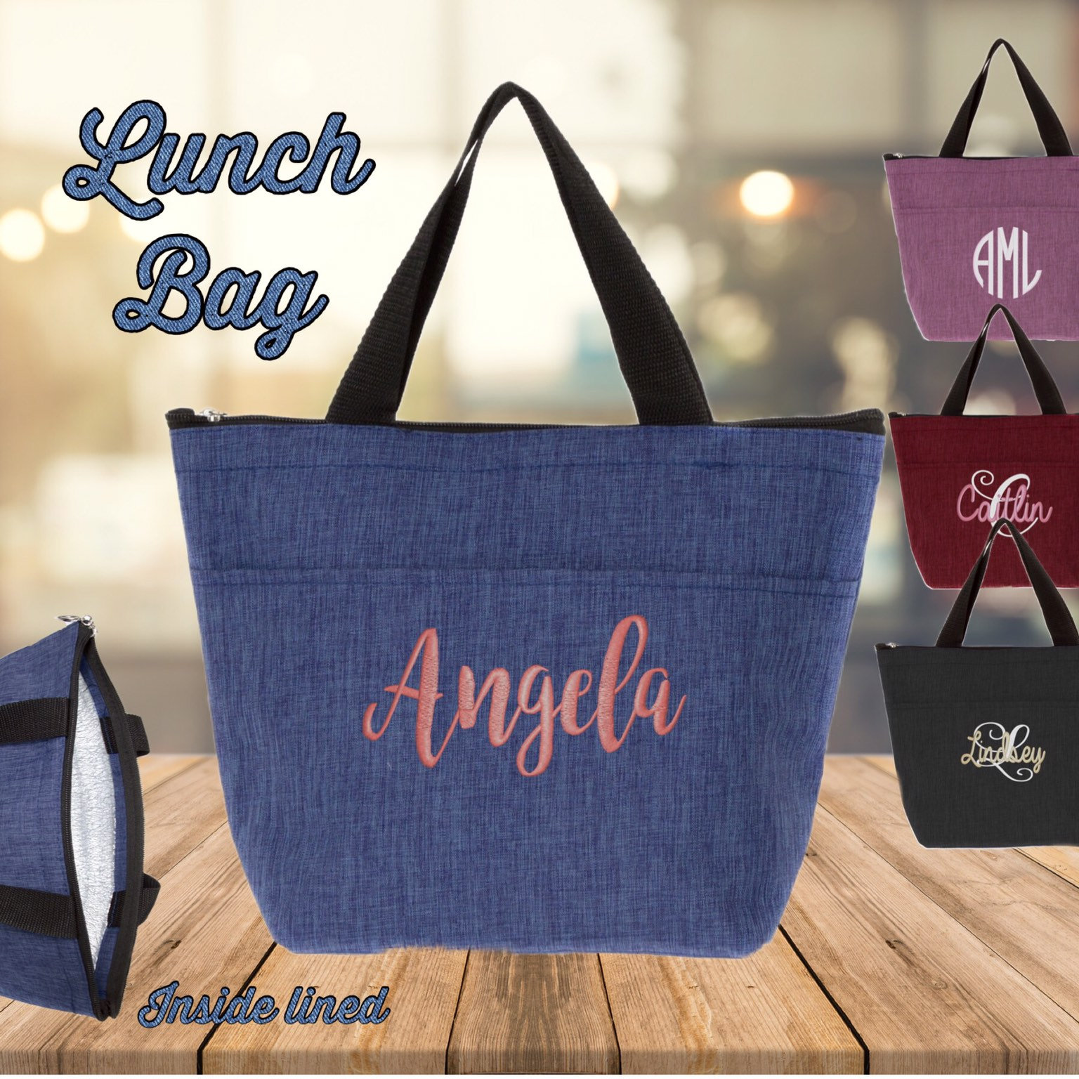 Personalized Lunch Box , Lunch Tote, Lunch Bag, Back To