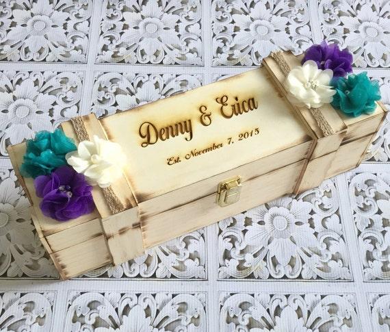 Wedding Wine box / custom wine box / peacock inspired wine box / personalized wine box