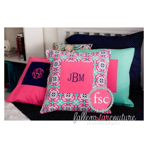 Pillow Cover - Navy & Hot Pink, monogrammed pillow cover, personalized pillow, custom pillow cover, pillow monogrammed
