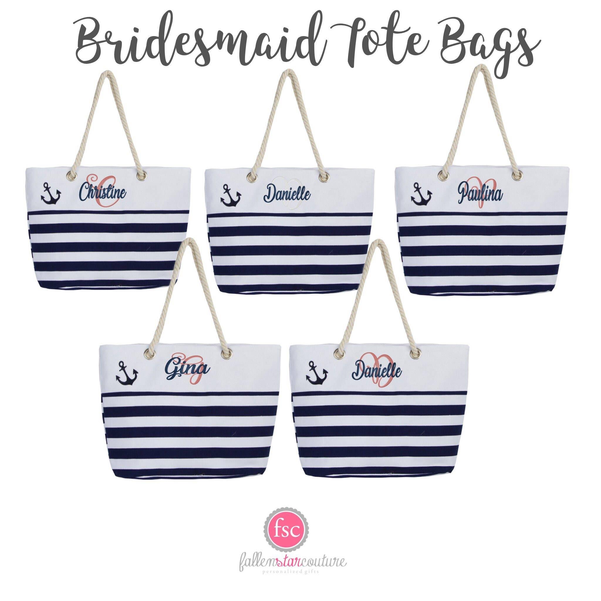 Nautical Wedding Tote Bag Anchor Theme Wedding Tote Bridesmaid
