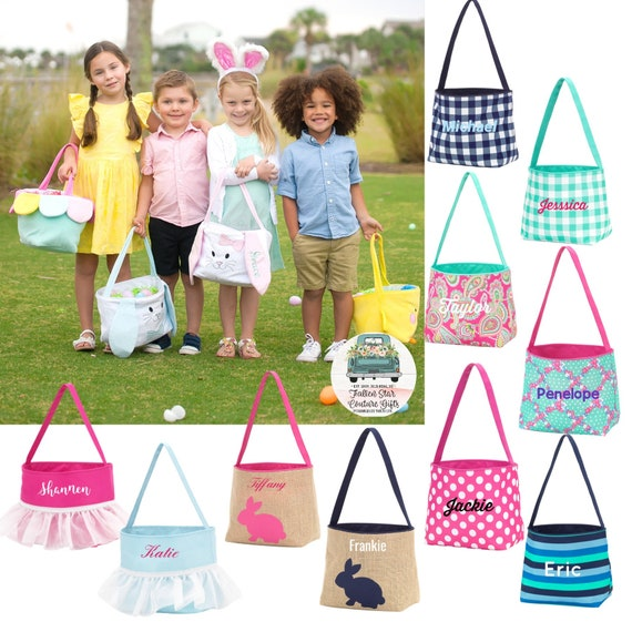 Personalized Easter Baskets  , Monogrammed Easter Basket  , Easter Bucket , Kids Egg Hunt Tote , Easter Baskets , Personalized Easter Tote