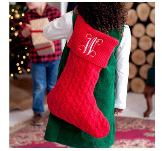 Red Cable Knit Personalized Christmas Stocking, Monogram Christmas Stockings, Christmas Farmhouse Stockings, Family Christmas Stockings