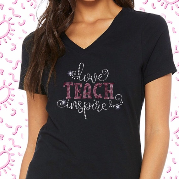 Teacher shirt, teach loved inspired, casual Friday shirt, special ed teacher shirt, clean rhinestone T-shirt shirt, gifts for teachers