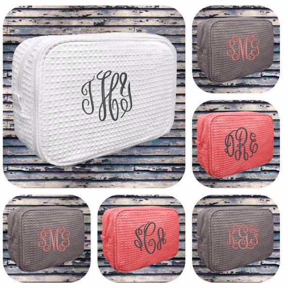 14 bridesmaid makeup bags , waffle makeup bags, monogrammed bag, wedding bag , bridesmaid gifts , personalized bridesmaid gift