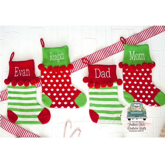 Personalized Christmas Stocking, Family Christmas Stocking, Striped Stocking, Polka Dot Stocking, Monogrammed Christmas Stocking