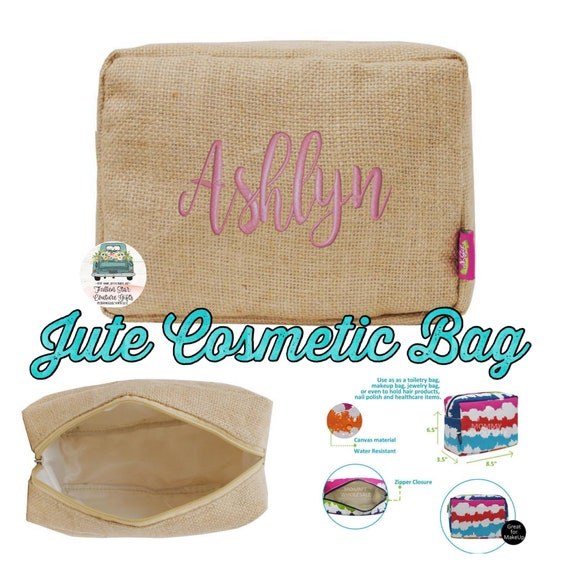 Jute bridesmaid bags , bridesmaid make-up bags, monogrammed bag, wedding bag , bridesmaid gifts , personalized bridesmaid gifts