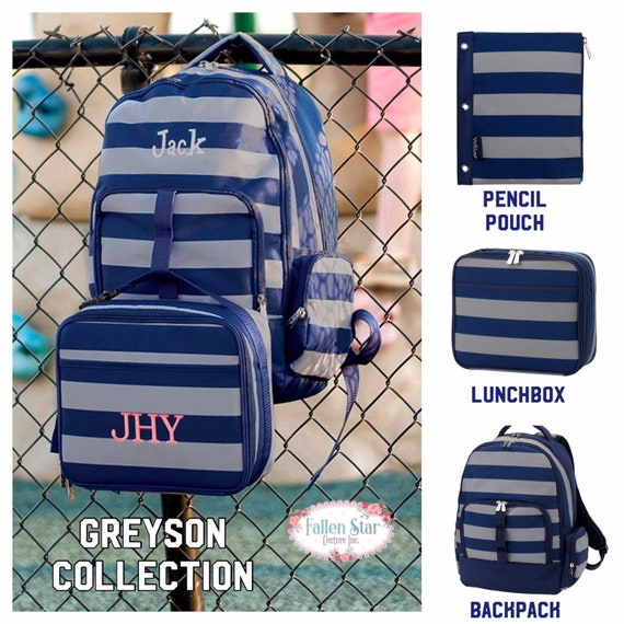 Boys Personalized Backpack, Back To School, Boys Lunchbox, Monogrammed Backpack & Lunchbox, Personalized Backpack  Lunchbox GREYSON
