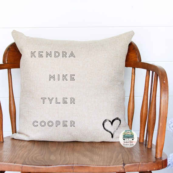Personalized pillow, grandparents gift, kids names pillow, pillow cover, linen pillow, personalized pillow, gifts for grandma, gift for mom