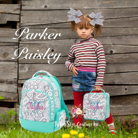 GIRLS personalized backpack , Back To School , kids backpack , lunch box,  monogrammed backpack , girls backpack, PARKER