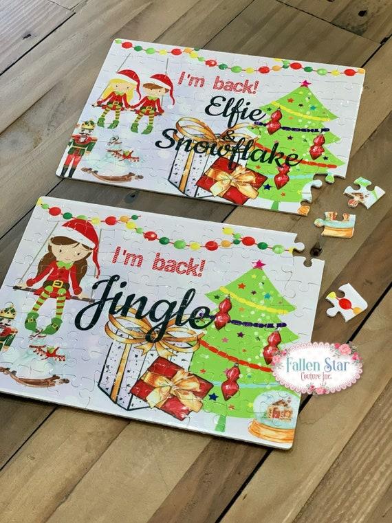 Elf Puzzle , I'm Back Puzzle , Kids Elf Gift , Santa's Elf , Kids Puzzle , Personalized Elf Puzzle