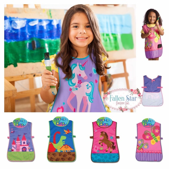 Personalized kids craft apron, art smock, craft apron, Stephen Joseph apron, gifts for girls, gifts for boys, kids art, personalized smock