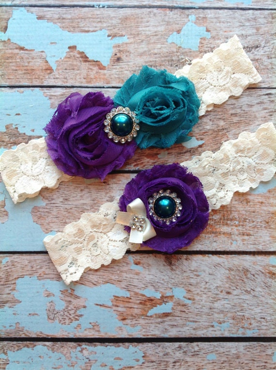Wedding Garter Set Bridal Garter Ivory Lace Garter Something Blue Rhinestone Garter Vintage Garter Belt Toss Garter Lace Garter